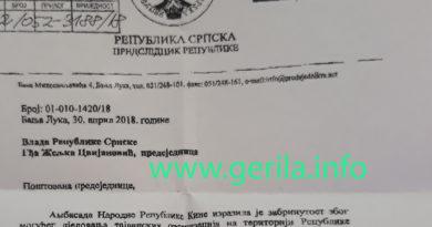 Milorad Dodik. dopis Željki Cvijanović o Tajvanu