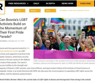 World Politics Review: Može li Parada ponosa pomoći jačanju prava LGBT zajednice u BiH?