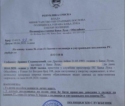 prijava protiv Draška Stanivukovića zbog snimanja karantina