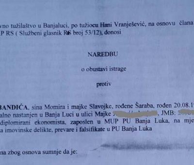Miloš Bandić- obustavljena istraga