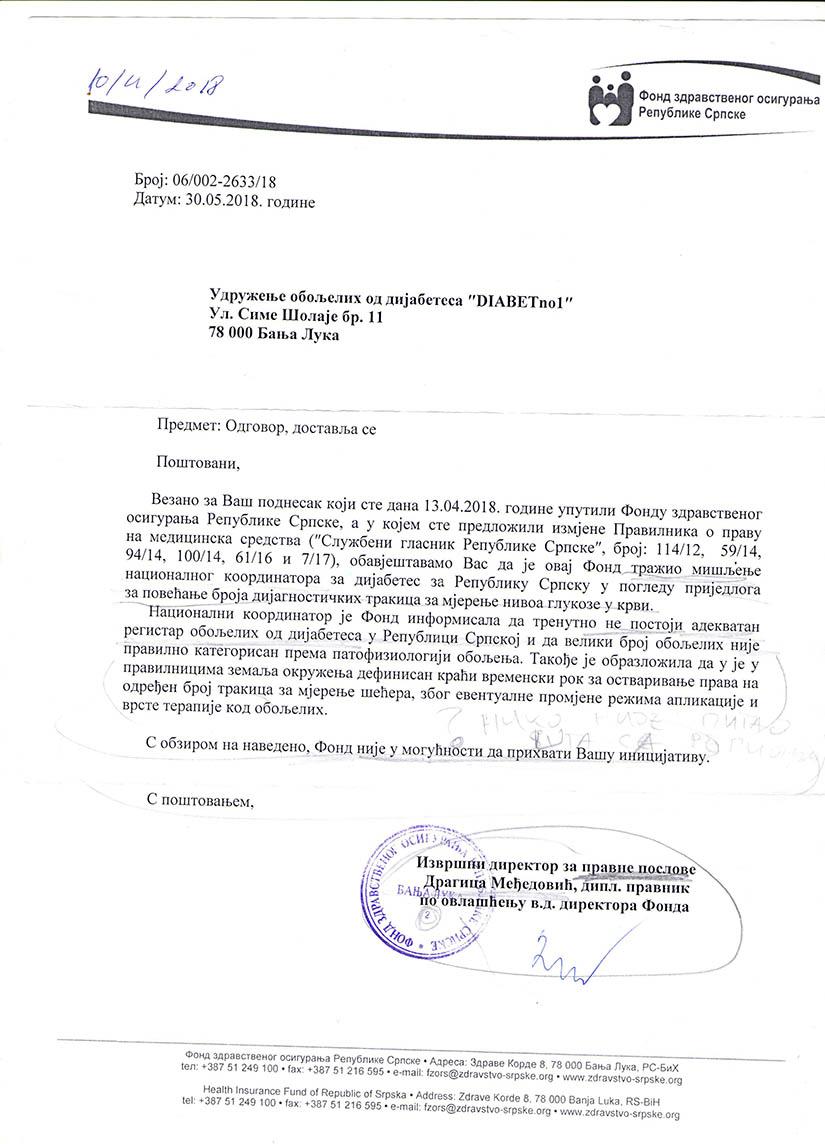odgovor fonda zdravstvenog osiguranja udruženju DijabetNo1