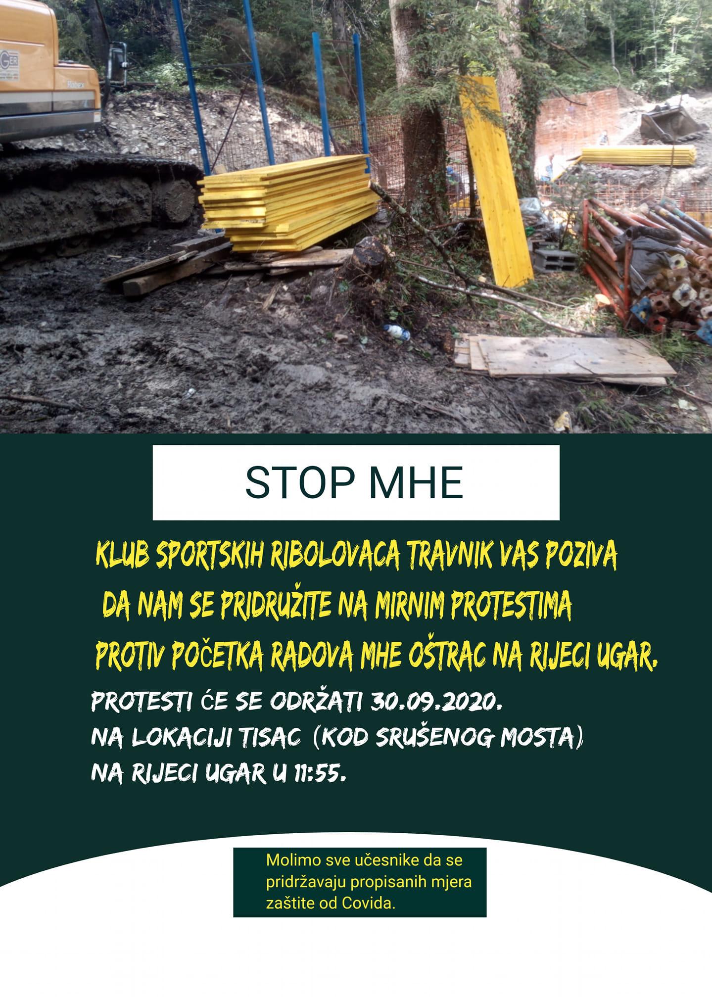 Poziv na proteste Sportoskoribolovnog društva Travnik objavljen na Facebook